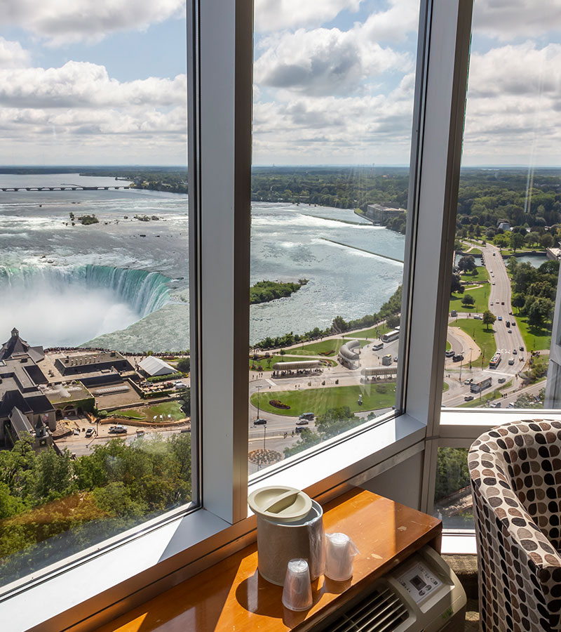 A fabulous Fallsview outside of window from Traditional Room where people can also see traffics